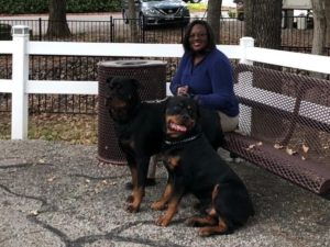 "Alicia Thomas and her ""Fur Babies"" Achilles & Apollo"