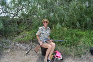 Karen Ward gets ready for white winged dove hunting in south Texas.