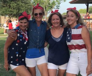 Lisa Darby, Karen Ward, Gwyn Buzzini, & Georgia Monk dress up as Rosie the Riveter for the July 4th parade at GHGC.