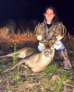 Katelin Holliday gets a buck in Waller, Texas.