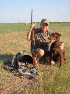 Barbara Garney has a successful dove hunt with Brandi working hard to retrieve.