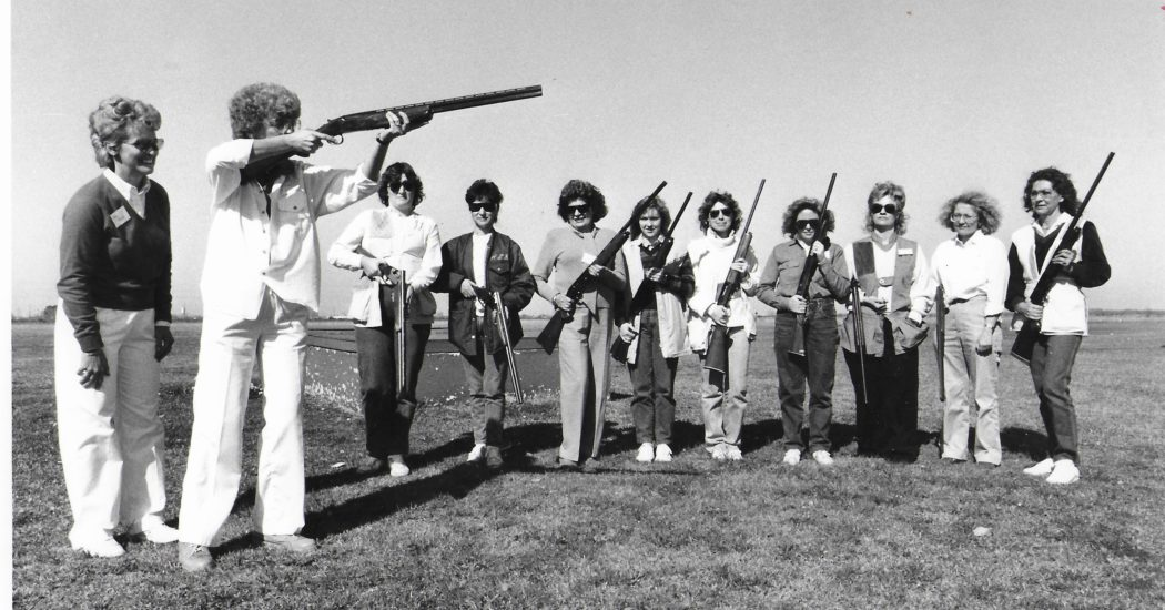 Sue King, Sandy Brister, Vicki Ash, Sandi Nail, and others put on a free shooting clinic.