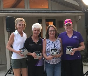 Karen Ward, Barbara Garney, Gwyn Buzzini, & Linda Cardova win the HOA Team at Joshua Creek's Second Annual Ladies Shoot.
